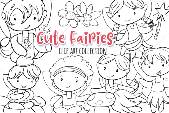 Print on Demand: Cute Fairies Black and White Grafik Illustrationen von Keepinitkawaiidesign