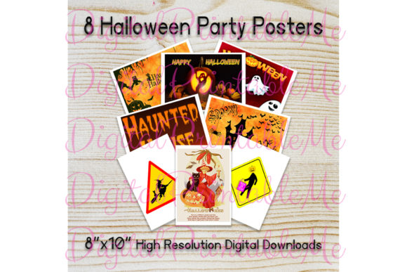 Print on Demand: Cute Halloween Posters Sign Decorations Graphic Illustrations By DigitalPrintableMe