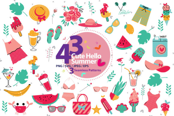 Print on Demand: Cute Hello Summer Bundle Graphic Illustrations By 3Motional