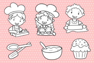 Print on Demand: Cute Kids Cooking (Black and White) Graphic Illustrations By Keepinitkawaiidesign 2