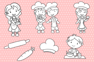 Print on Demand: Cute Kids Cooking (Black and White) Graphic Illustrations By Keepinitkawaiidesign 3