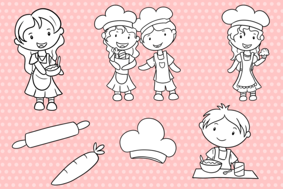 Download Free Cute Kids Cooking Black And White Grafico Por for Cricut Explore, Silhouette and other cutting machines.