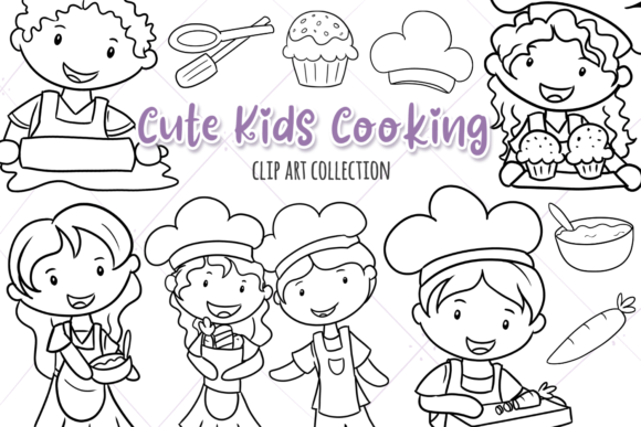 Print on Demand: Cute Kids Cooking (Black and White) Graphic Illustrations By Keepinitkawaiidesign