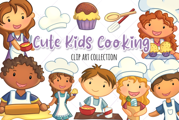 Print on Demand: Cute Kids Cooking Grafik Illustrationen von Keepinitkawaiidesign