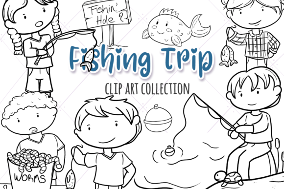 Print on Demand: Cute Kids Fishing (Black and White) Gráfico Ilustraciones Por Keepinitkawaiidesign