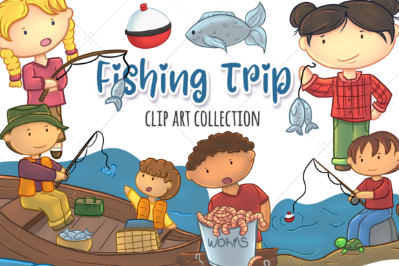 Download Free Cute Kids Fishing Graphic By Keepinitkawaiidesign Creative Fabrica for Cricut Explore, Silhouette and other cutting machines.