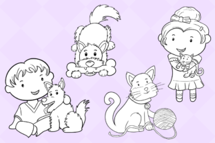 Print on Demand: Cute Kids with Pets (Black and White) Graphic Illustrations By Keepinitkawaiidesign 3