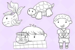 Print on Demand: Cute Kids with Pets (Black and White) Graphic Illustrations By Keepinitkawaiidesign 4