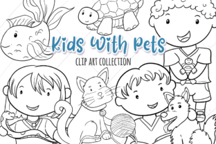 Print on Demand: Cute Kids with Pets (Black and White) Graphic Illustrations By Keepinitkawaiidesign