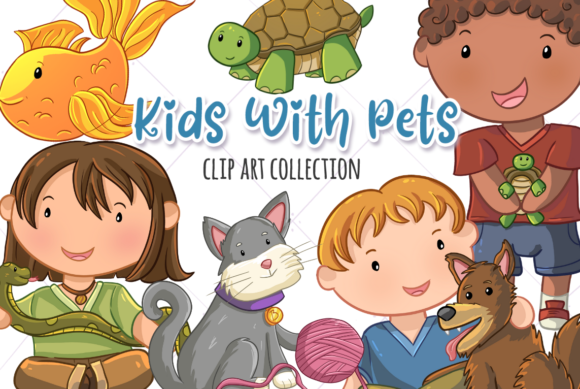 Print on Demand: Cute Kids with Pets Graphic Illustrations By Keepinitkawaiidesign
