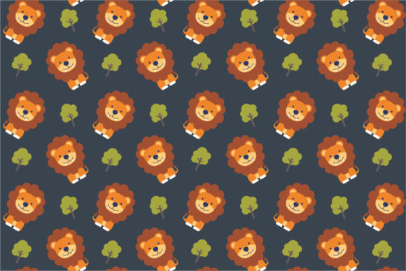 Download Free Cute Lion Seamless Pattern Grafico Por 3rieartstudio Creative for Cricut Explore, Silhouette and other cutting machines.