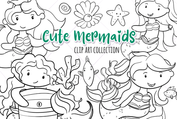Print on Demand: Cute Mermaids Black and White Graphic Illustrations By Keepinitkawaiidesign