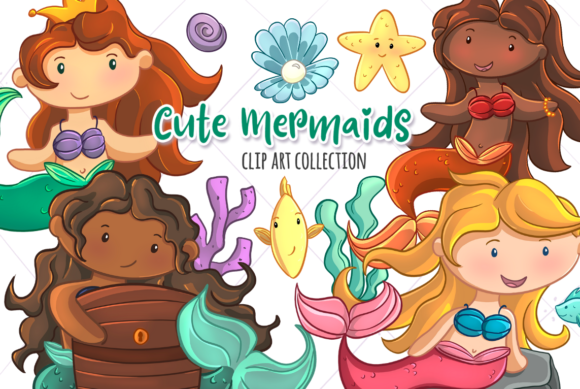 Print on Demand: Cute Mermaids Graphic Illustrations By Keepinitkawaiidesign