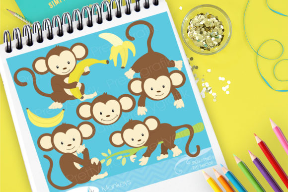 Print on Demand: Cute Monkeys Graphic Illustrations By Prettygrafik