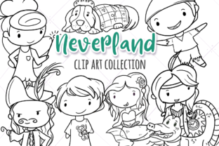 Cute Neverland (Black and White) Graphic By Keepinitkawaiidesign