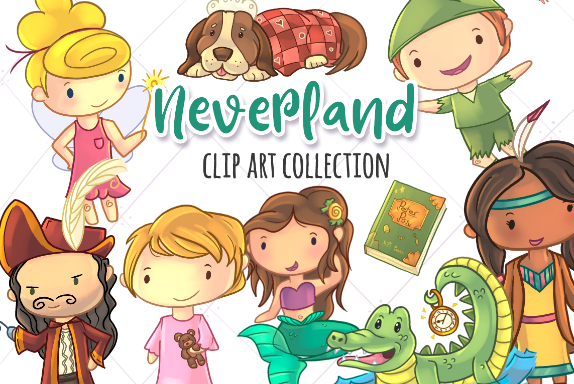 Download Free Cute Neverland Clip Art Graphic By Keepinitkawaiidesign for Cricut Explore, Silhouette and other cutting machines.