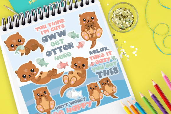 Print on Demand: Cute Otter Graphic Illustrations By Prettygrafik