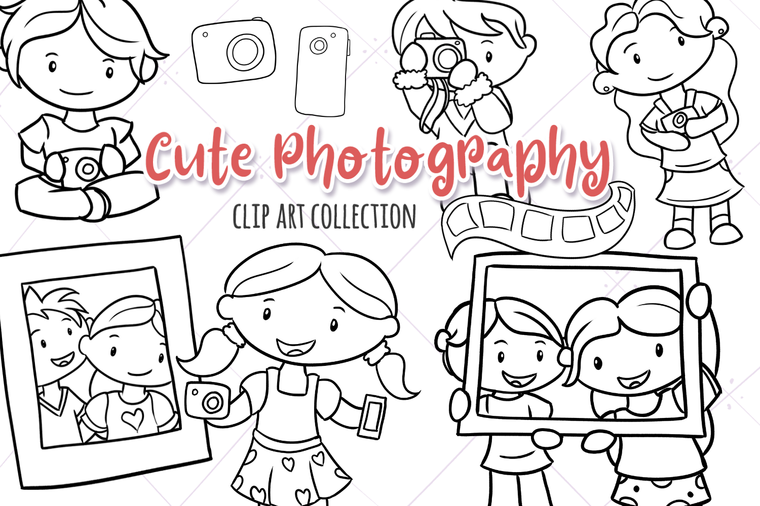 Download Free Cute Photography Black And White Graphic By for Cricut Explore, Silhouette and other cutting machines.