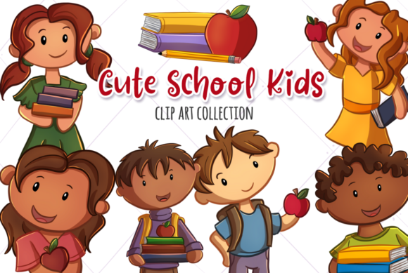 Print on Demand: Cute School Kids Grafik Illustrationen von Keepinitkawaiidesign