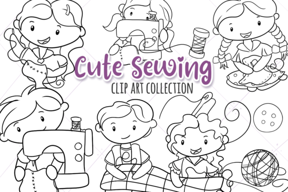 Print on Demand: Cute Sewing (Black and White) Graphic Illustrations By Keepinitkawaiidesign