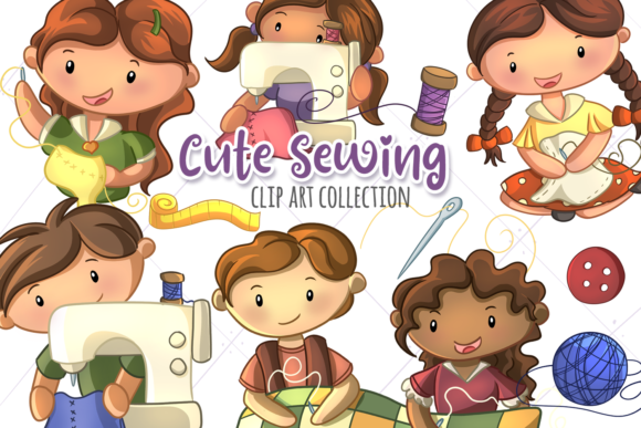 Print on Demand: Cute Sewing Grafik Illustrationen von Keepinitkawaiidesign