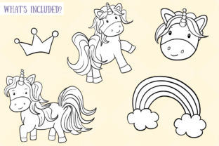 Print on Demand: Cute Unicorns Black and White Graphic Illustrations By Keepinitkawaiidesign 2