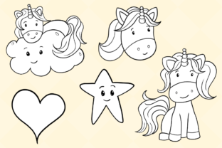 Print on Demand: Cute Unicorns Black and White Graphic Illustrations By Keepinitkawaiidesign 3