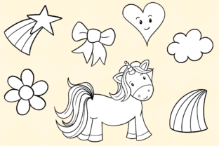 Print on Demand: Cute Unicorns Black and White Graphic Illustrations By Keepinitkawaiidesign 4