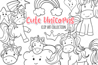Print on Demand: Cute Unicorns Black and White Graphic Illustrations By Keepinitkawaiidesign 1