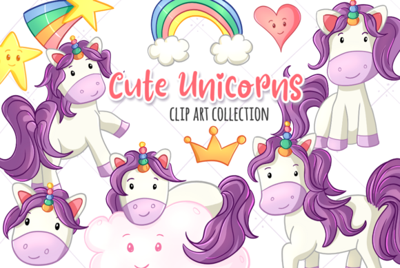 Print on Demand: Cute Unicorns Gráfico Ilustraciones Por Keepinitkawaiidesign