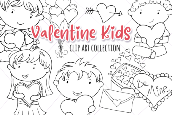 Print on Demand: Cute Valentine's Day (Black and White) Graphic Illustrations By Keepinitkawaiidesign
