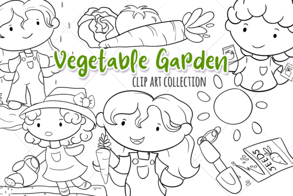 Print on Demand: Cute Vegetable Garden (Black and White) Graphic Illustrations By Keepinitkawaiidesign