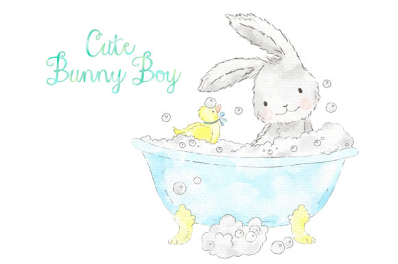 Download Free Cute Blue Bunny Boy Watercolor Clip Art Graphic By Kabankova for Cricut Explore, Silhouette and other cutting machines.