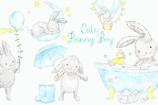 Cute Blue Bunny Boy Watercolor Clip Art Graphic Illustrations By kabankova