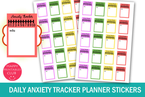 Print on Demand: Daily Anxiety Tracker Planner Stickers Graphic Crafts By Happy Printables Club