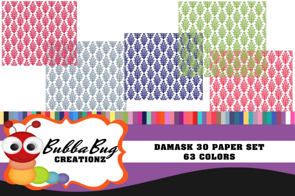 Download Free Damask 30 Paper Set Graphic By Bubbabug Creative Fabrica for Cricut Explore, Silhouette and other cutting machines.