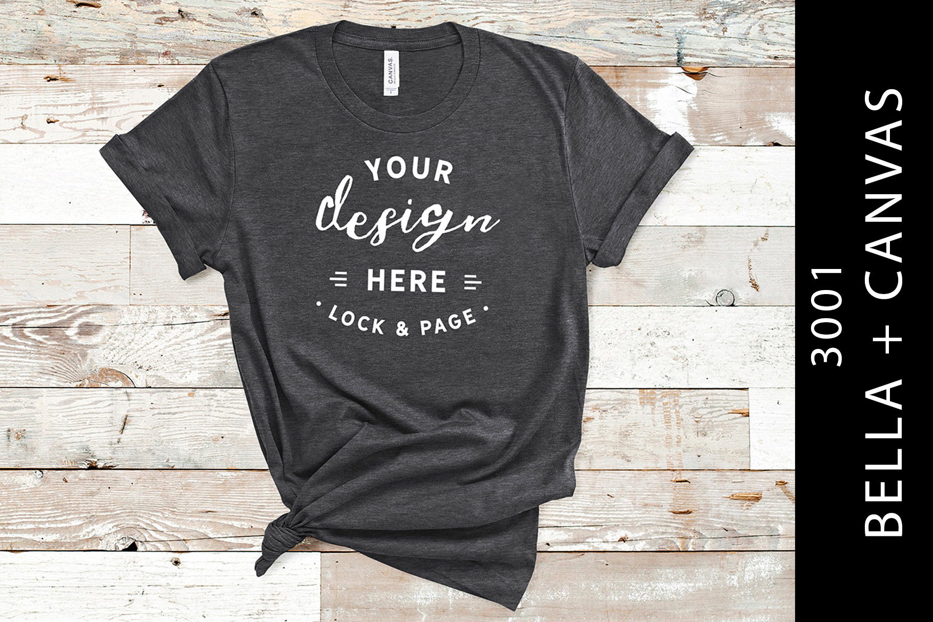 Download Free Dark Grey Heather 3001 T Shirt Mockup Graphic By Lockandpage for Cricut Explore, Silhouette and other cutting machines.