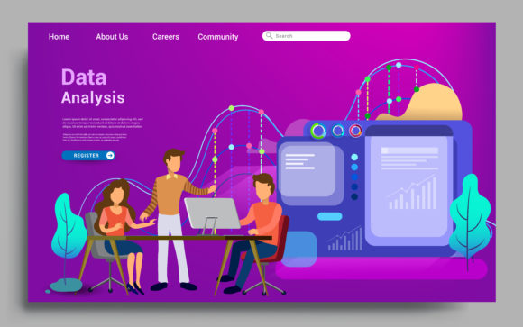 Data Analytics Landing Page Template. Graphic Landing Page Templates By OtpirusThree