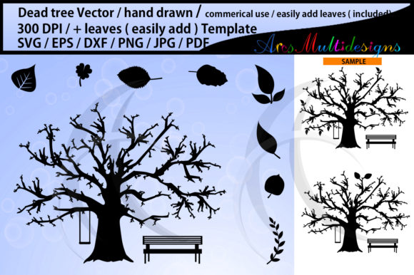 Print on Demand: Dead Tree Svg and Leaves Template Graphic Illustrations By Arcs Multidesigns
