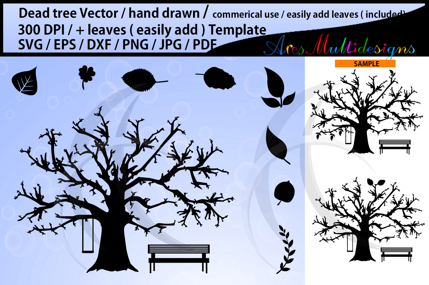Download Free Dead Tree And Leaves Template Graphic By Arcs Multidesigns for Cricut Explore, Silhouette and other cutting machines.