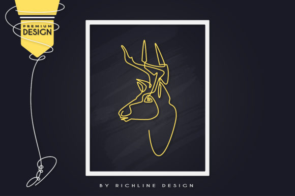 Deer Animal Line Art Poster Grafik Illustrationen von RICHLINE DESIGN