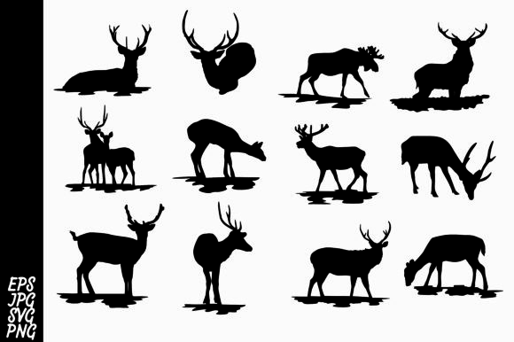 Print on Demand: Deer Silhouette SVG Bundle Graphic Crafts By Arief Sapta Adjie