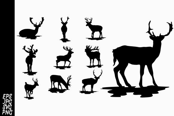 Print on Demand: Deer Silhouette Bundle Graphic Crafts By Arief Sapta Adjie II