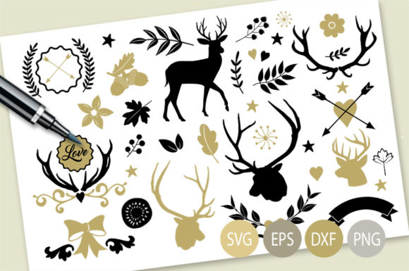 Deers and Antlers Clipart Set - Graphics Graphic Illustrations By Gleenart Graphic Design