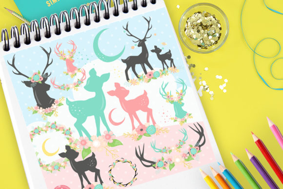 Print on Demand: Deers Graphic Illustrations By Prettygrafik