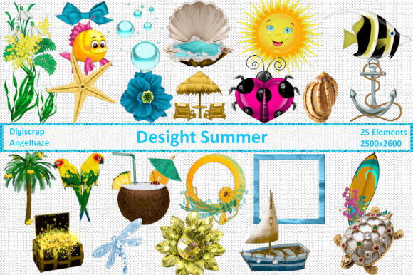 Delight Summer Elements Graphic By Digiscrap Angelhaze