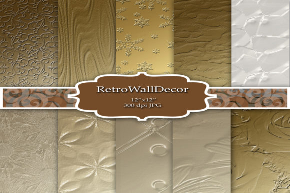 Print on Demand: Digital Paper Gold Metallics Graphic Backgrounds By retrowalldecor - Image 1