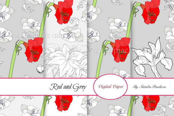 Print on Demand: Digital Paper.  Red and Grey Flowers Graphic Patterns By natalia.piacheva