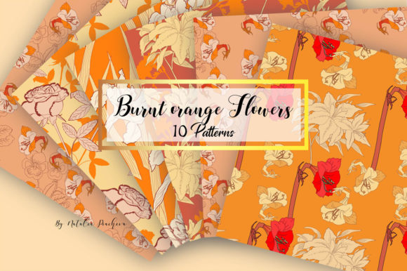 Print on Demand: Digital Paper with Burnt Orange Flowers Graphic Patterns By natalia.piacheva
