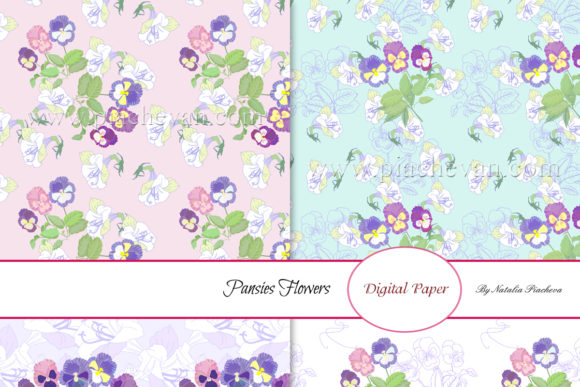 Download Free Digital Paper With Pansies Flowers Graphic By Natalia Piacheva Creative Fabrica for Cricut Explore, Silhouette and other cutting machines.